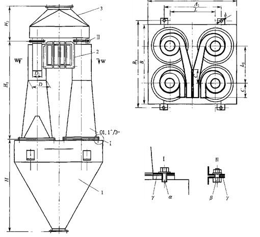 四筒乂二^型扩散式旋风除尘器的结构尺寸见图5-9和